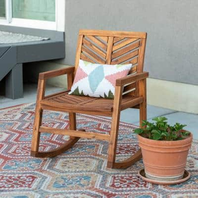 Brown Chevron Outdoor Acacia Wood Rocking Chair