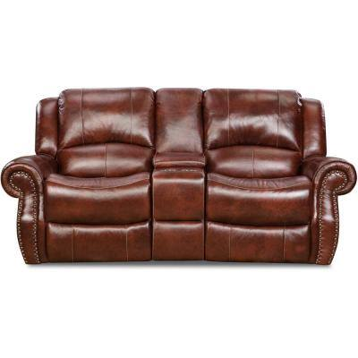 Aspen Oxblood 100% Genuine Leather Double-Reclining Gliding Console Loveseat, HUM003LS-OB