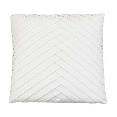 James 20 x 20 Egret Pleated Velvet Throw Pillow