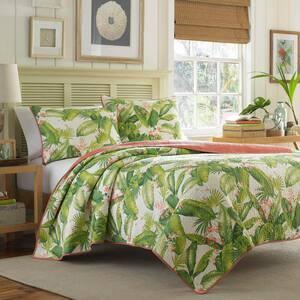 Aregada Dock 3-Piece Ecru Beige Floral Cotton King Quilt Set