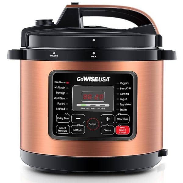 GoWISE USA 8 Qt. Copper Electric Pressure Cooker with Built-In Timer