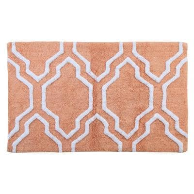 Cotton 34 in. x 21 in. Latex Spray Non-Skid Backing Coral/White Color Quatrefoil Pattern Machine Washable Bath Rug