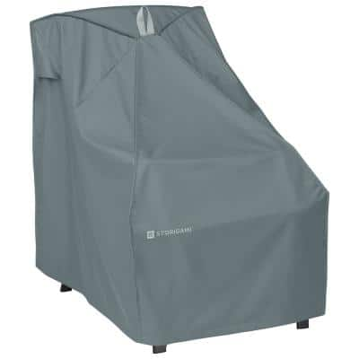 Storigami 33 in. L x 26 in. W x 35 in. H Easy Fold High Back Chair Cover in Monument Grey