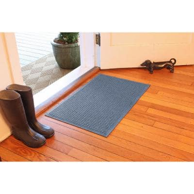 Aqua Shield Squares 18 in. x 27 in. PET Polyester Door Mat Bluestone