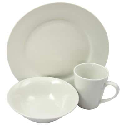 Noble Court 12-Piece Casual White Earthenware Dinnerware Set (Service for 4)