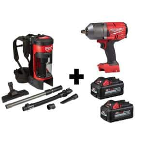 M18 FUEL 18-Volt 1/2 in. Lithium-Ion Cordless Impact Wrench w/ Friction Ring & Backpack Vacuum w/ Two 6.0Ah Batteries