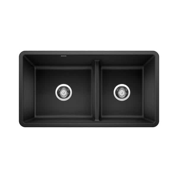 Blanco Precis Undermount Granite Composite 33 In 60 40 Double Bowl Kitchen Sink With Low Divide Anthracite 442525 The Home Depot