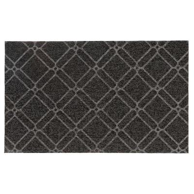 Geometric 18 in. x 30 in. Gray Door Mat