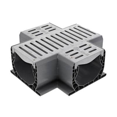 Spee-D Channel Drain Plastic Cross and Grate, Gray
