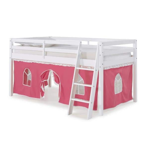 Alaterre Furniture Roxy White Twin Junior Loft Bed with Pink and White Tent   The Home Depot