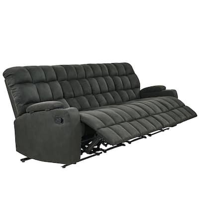 4-Seat Gray Microfiber Wall Hugger Storage Reclining Sofa