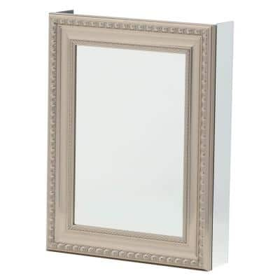 20 in. W x 26 in. H Framed Recessed or Surface-Mount Bathroom Medicine Cabinet with Deco Framed Door in Brushed Nickel