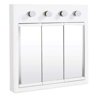 Concord 30 in. x 30 in. Surface-Mount 4-Light Tri-View Medicine Cabinet in White Gloss