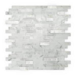 Camarillo White and Gray 11.77 in. x 11.57 in. x 8 mm Stone Self-Adhesive Mosaic Wall Tile (11.4 sq. ft. /case)