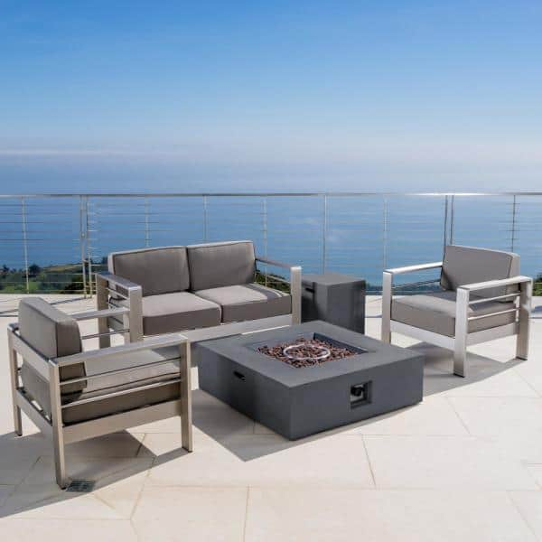 Noble House Cape Coral Khaki 5 Piece Aluminum Patio Fire Pit Conversation Set With Cushions 14199 The Home Depot