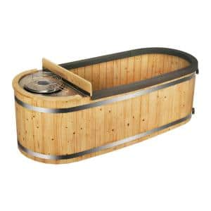 2-Person Pine Hot Tub with Charcoal Stove Boiler