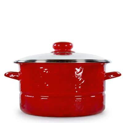 Solid Red 6 qt. Enamelware Stock Pot with Glass Lid