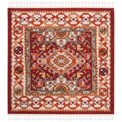 Farmhouse Ivory/Red 6 ft. x 6 ft. Square Floral Area Rug