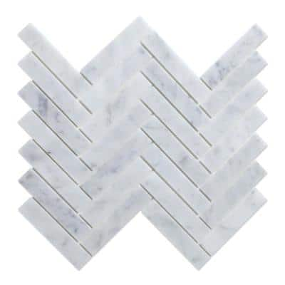 Oahu White 11.44 in. x 11.58 in. x 5mm Marble Self-Adhesive Wall Mosaic Tile (5.52 sq. ft./Case)