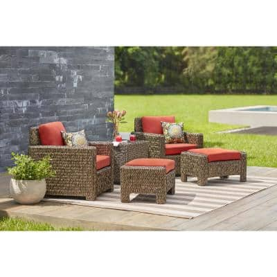 Laguna Point Brown Wicker Outdoor Patio Lounge Chair with CushionGuard Quarry Red Cushions (2-Pack)
