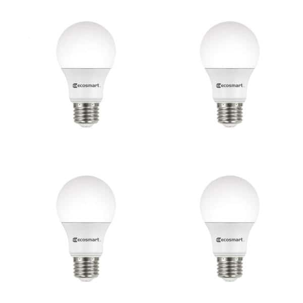 Ecosmart 60 Watt Equivalent A19 Non Dimmable Cec Led Light Bulb Soft White 4 Pack A9a19a60wt2044 The Home Depot