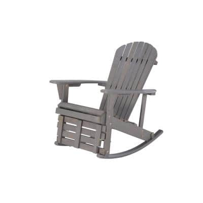 Zero Gravity Dark Gray Wood Rocking Adirondack Chair with Built-In Footrest