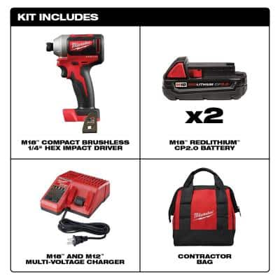 M18 18-Volt Lithium-Ion Brushless Cordless 1/4 in. Impact Driver Kit with Two 2.0 Ah Batteries, Charger and Hard Case