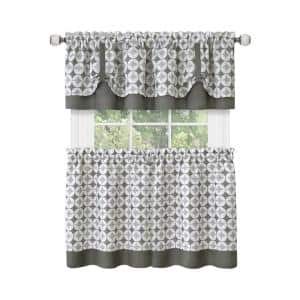Callie Grey Polyester Light Filtering Rod Pocket Tier and Valance Curtain Set 58 in. W x 24 in. L