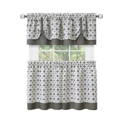Callie Grey Polyester Light Filtering Rod Pocket Tier and Valance Curtain Set 58 in. W x 36 in. L