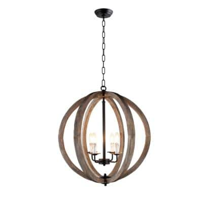 4-Light Rustic Black Metal and Vintage Wood Pendant Orb Chandelier