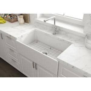 Farmhouse Apron-Front Fireclay 33 in. Single Bowl Kitchen Sink in White with Grid