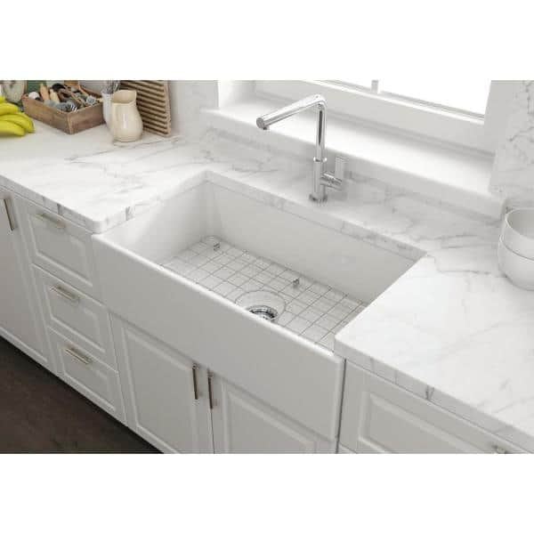 Glacier Bay Farmhouse Apron Front Fireclay 33 In Single Bowl Kitchen Sink In White With Grid 3abrb 52 001 The Home Depot