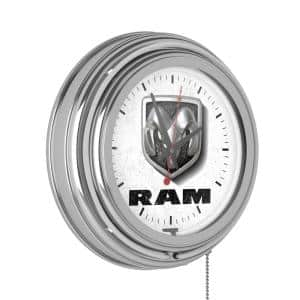 Neon Wall Clock Logo White with Pull Chain-Pub Garage or Man Cave Accessories Double Rung Analog Clock