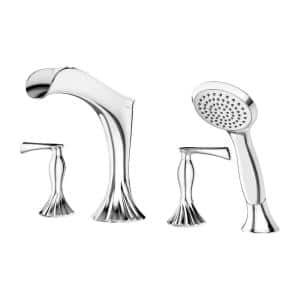 Rhen 2-Handle Deck Mount Roman Tub Trim Kit with Handheld Shower in Polished Chrome (Valve Not Included)