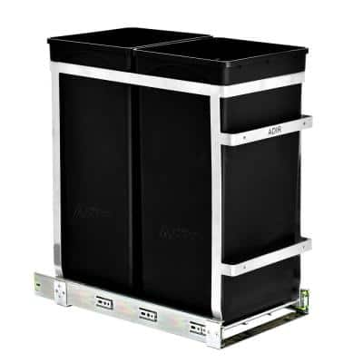 9.5 Gal. Steel In-Cabinet Double Pull-Out Trash Can in Black