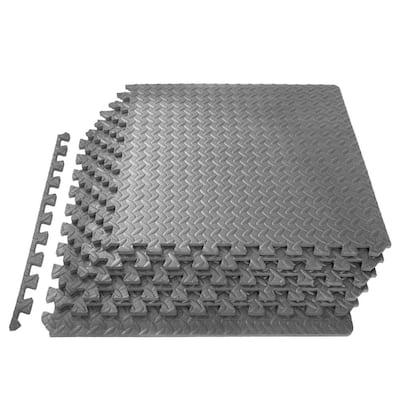 Exercise Puzzle Mat Grey 24 in. x 24 in. x 0.5 in. EVA Foam Interlocking Anti-Fatigue Exercise Tile Mat (6-Pack)