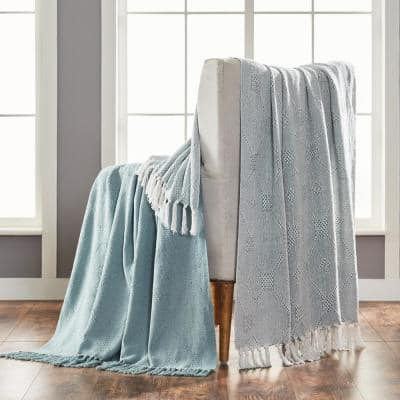 2-Pack Chester Eucalyptus 100% Cotton 50 in. x 60 in. Throw Blanket