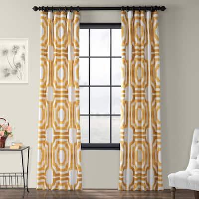 Mecca Gold Geometric Rod Pocket Room Darkening Curtain - 50 in. W x 84 in. L