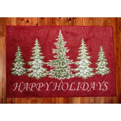 Trees Red 31 in. x 49 in. Indoor Holiday Scatter