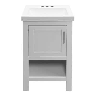 Spa 18.5 in. W D Bath Vanity in Dove Gray with Cultured Marble Vanity Top in White with White Basin