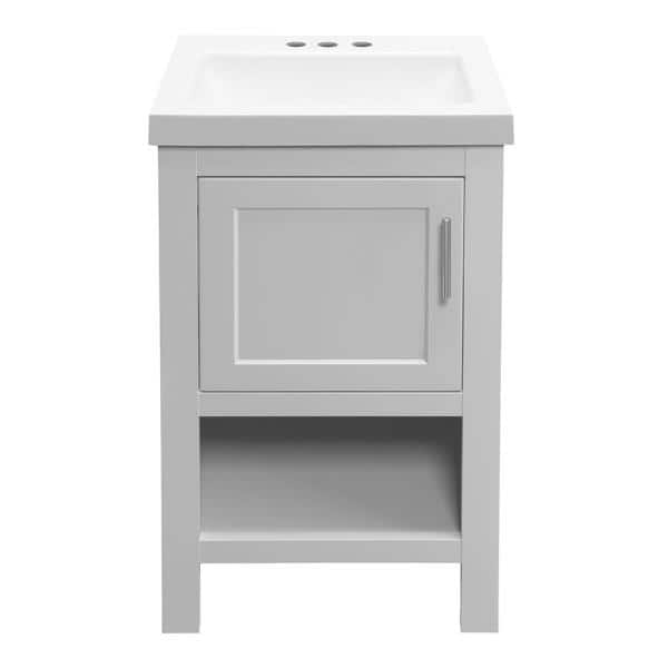 Glacier Bay Spa 18 5 In W D Bath Vanity In Dove Gray With Cultured Marble Vanity Top In White With White Basin Ppspadvr18 The Home Depot