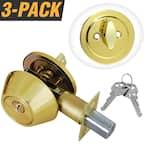 Solid Brass Entry Door Lock Single Cylinder Deadbolt with 6 KW1 Keys (3-Pack, Keyed Alike)