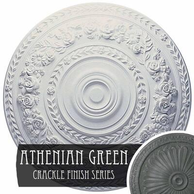 "2-3/8"" x 33-7/8"" x 33-7/8"" Polyurethane Rose Ceiling Medallion, Athenian Green Crackle"