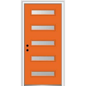36 in. x 80 in. Davina Right-Hand Inswing 5-Lite Frosted Glass Painted Steel Prehung Front Door on 6-9/16 in. Frame