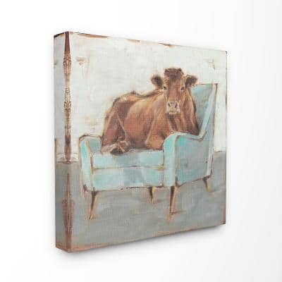 """30 in. x 30 in. """"Brown Bull on a Blue Couch Painting"""" by Ethan Harper Canvas Wall Art"""