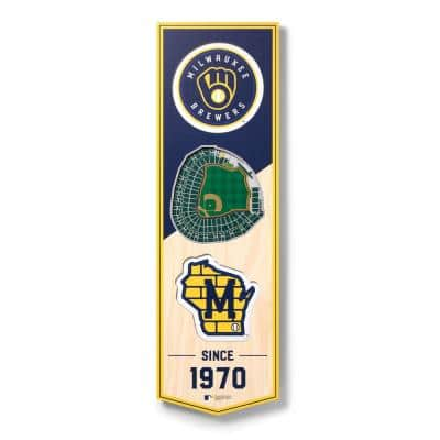 MLB Milwaukee Brewers 6 in. x 19 in. 3D Stadium Banner-Miller Park