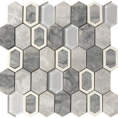 Literati Melville 12.0 in. x 12.0 in. x 8mm Cast Stone Mesh-Mounted Mosaic Tile (1.0 sq. ft.)