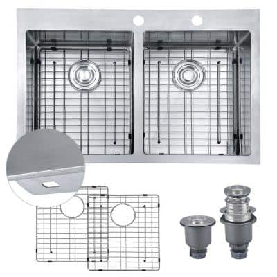 Handmade Drop-in Stainless Steel 33 in. 2-Hole 50/50 Double Bowl Kitchen Sink with 9 Ga Ex-Thick Desk