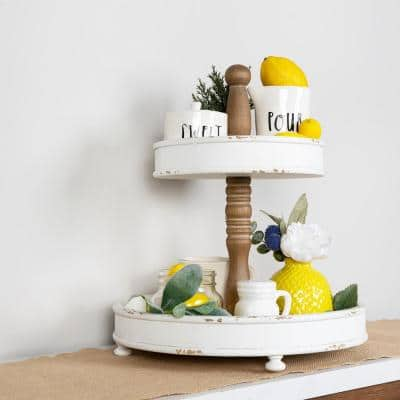 2-Tier Round White and Natural Wood Tray