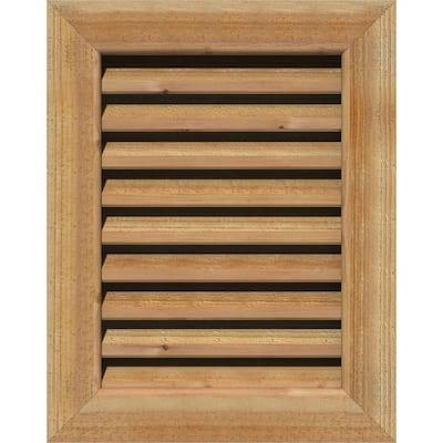 "29"" x 35"" Rectangular Rough Western Red Cedar Wood Paintable Gable Louver Vent Functional"